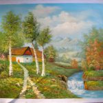 Country Landscape Impressionism Oil Canvas Painting River Birch