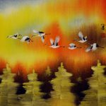 Cranes Taking Flight Autumn Asian Art