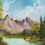 Crimson Mountains Painting Bob Ross Paintings