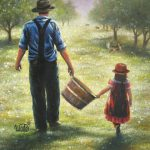 Dad Daughter Art Print Father Apple Orchard
