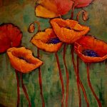 Daily Painters Colorado Flower Tribune Textured Poppy Painting Carol Nelson Fine