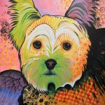 Daisy Abstract Dog Art Yorkshire Terrier Painting Amy