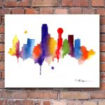 Dallas Skyline Abstract Watercolor Painting Art Print Artist Rogers