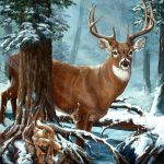 Deer Blue Forest Painting Oil