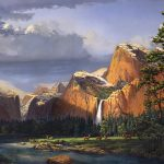 Deer Meadow Mountains Western Stream Waterfall Landscape Oil Painting Stormy Sky Snow