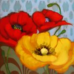 Diane Hoeptner Poppies Pattern Painting Yellow Red