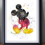 Disney Mickey Mouse Watercolor Art Poster Print Wall