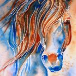 Donna Martin Fine Art Original Watercolor Horse Painting Dreaming