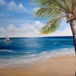 Draw Tropical Beach Scene Landscape Spread Sand