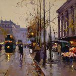 Edouard Cortes Romantic Visions Autumn Paris Falling Leaves Tramways Street