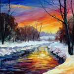 End Winter Wall Art Palette Knife Oil Painting Canvas Leonid