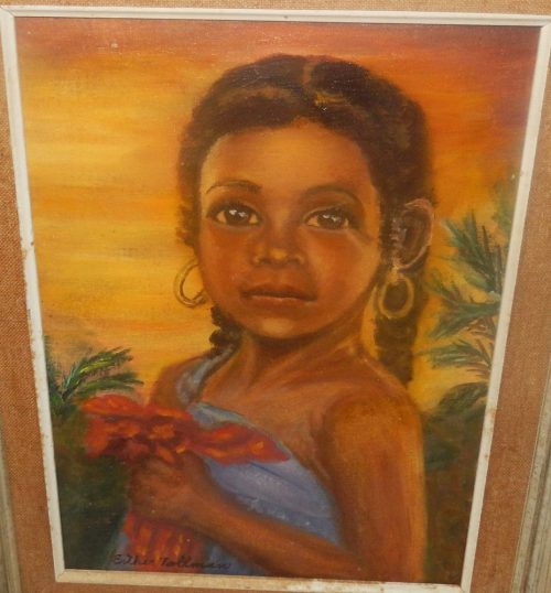 Esther Tallman Haitian Girl Yolande Original Oil Canvas Painting