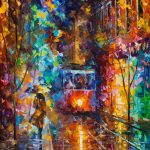 Evening Trolley Palette Knife Oil Painting Wall Art Canvas Leonid