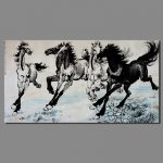 Famous Chinese Paintings Steeds Decoration Wall Art Canvas Painting Black White