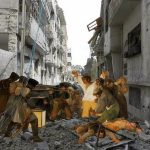 Famous Iconic Paintings Superimposed War Torn Landscape Syria