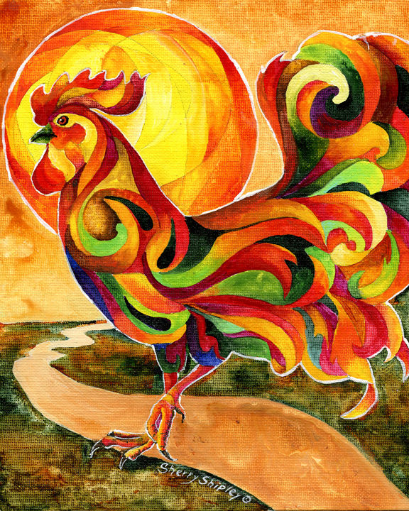 Fancy Feathers Rooster Chicken Art Print Sherry Shipley