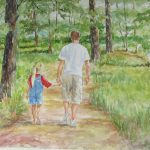 Father Daughter Walk Painting Gloria