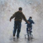 Father Son Original Painting Dad Bike