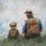 Father Son Talk Art Print Dad Painting Little
