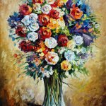 Favorite Flowers Palette Knife Oil Painting Canvas Leonid