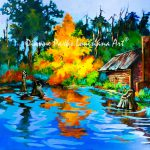 Fire Tree Louisiana Swamp Painting Bayou