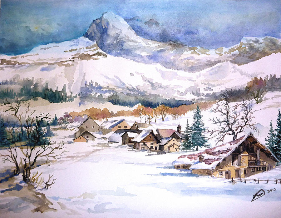 First Snow Scene Painting Alban