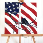 Flag Decor Original Canvas Painting Patriotic
