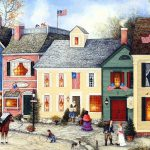 Flag Street Americana Villages American Folk Art Paintings