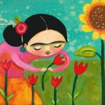 Floral Painting Frida Kahlo Sunflower Tulips Print