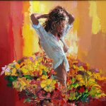 Flower Art Woman Flowers Painting Giclee Canvas