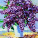 Flower Oil Painting Lilac Purple Textured