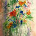 Flower Vase Print Original Watercolor Painting