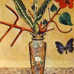 Flowers Butterfly Dadaism Painting Oil
