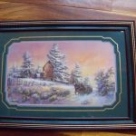 Framed Lee Parkinson Snow Scene Carriage Barn Called Memories