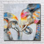 Framed Two Loved Elephants Pure Hand Painted Modern Wall Decor Abstract Animal Art