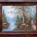 Framed Vintage Waterfall Mountains Oil Painting Canvas Signed Scott