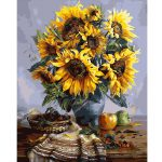 Frameless Sunflower Canvas Linen Oil Painting Diy Paint Numbers Home Wall