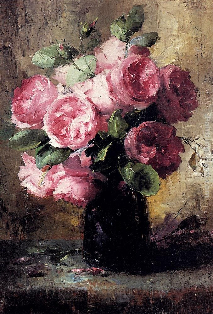 Frans Mortelmans Pink Roses Vase Painting Best Paintings