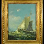 Frederick Leo Hunter Antique Marine Oil Painting