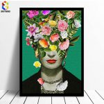 Frida Kahlo Floral Printing Art Canvas Paintings Poster Flower Wall Living