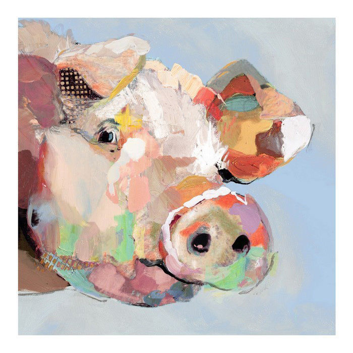 Funny Pig Hand Painted Modern Abstract Animal Oil Painting Wall Art Home Decor