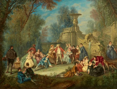 Galante Blind Man Buff Courtly Dancing Auktionshaus