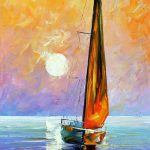 Gold Sail Palette Knife Oil Painting Canvas Leonid