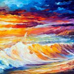 Gold Waves Palette Knife Oil Painting Canvas Leonid