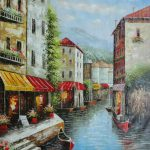 Gondola Cafeteria Venice Oil Painting Italy Naturalism