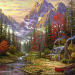 Good Life Thomas Kinkade Mountain Painting Oil