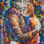 Goodbye Miau Palette Knife Oil Painting Canvas Leonid