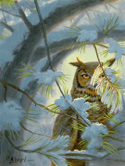 Great Horned Owl Paintings
