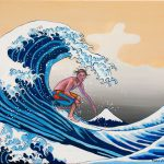 Great Wave Amadeus Series Figures Painting Surfing Surfers Ocean Acrylic