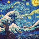 Great Wave Off Kanagawa Starry Night Painting